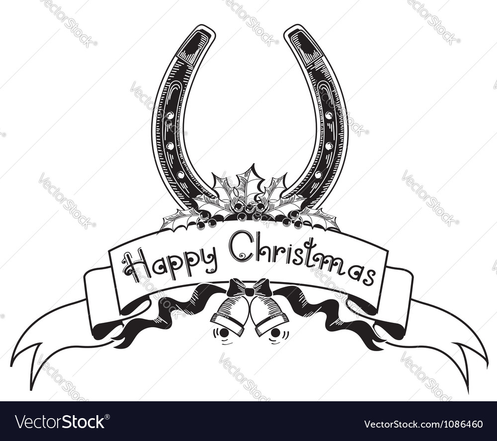 Christmas horseshoe background with holly berry vector image