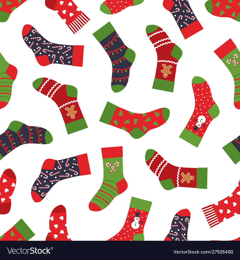 Christmas socks pattern seamless texture with