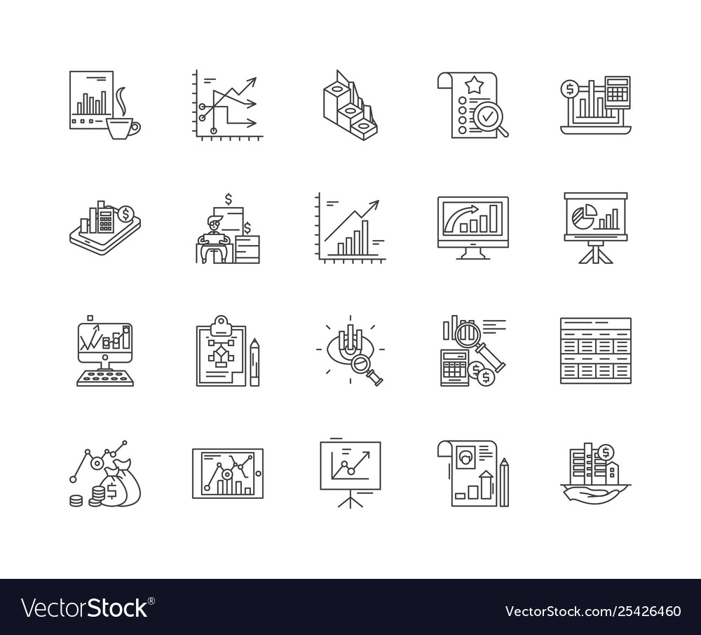 Data concept line icons signs set