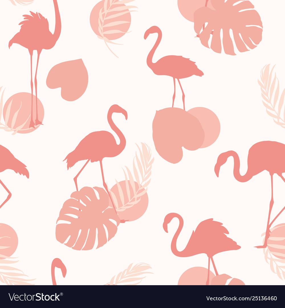 Exotic pink flamingo birds tropical leaves shapes