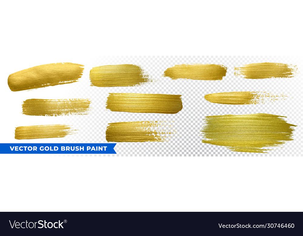 Gold brush paint strokes golden glitter texture