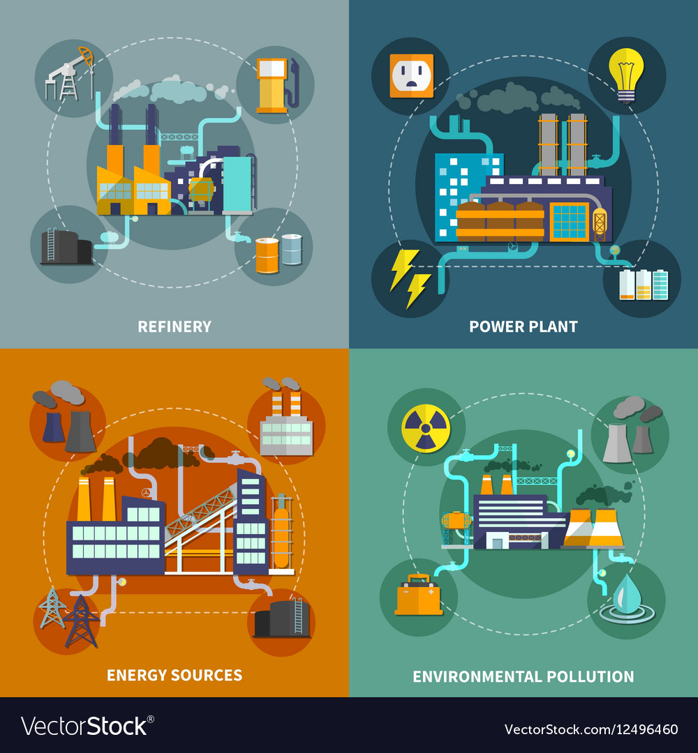 Industry Flat Collection Layout Royalty Free Vector Image Power Plant Design