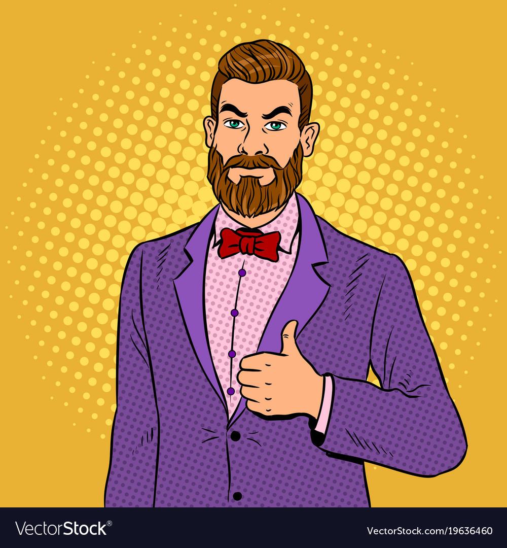 man with beard thumbs up pop art royalty free vector image