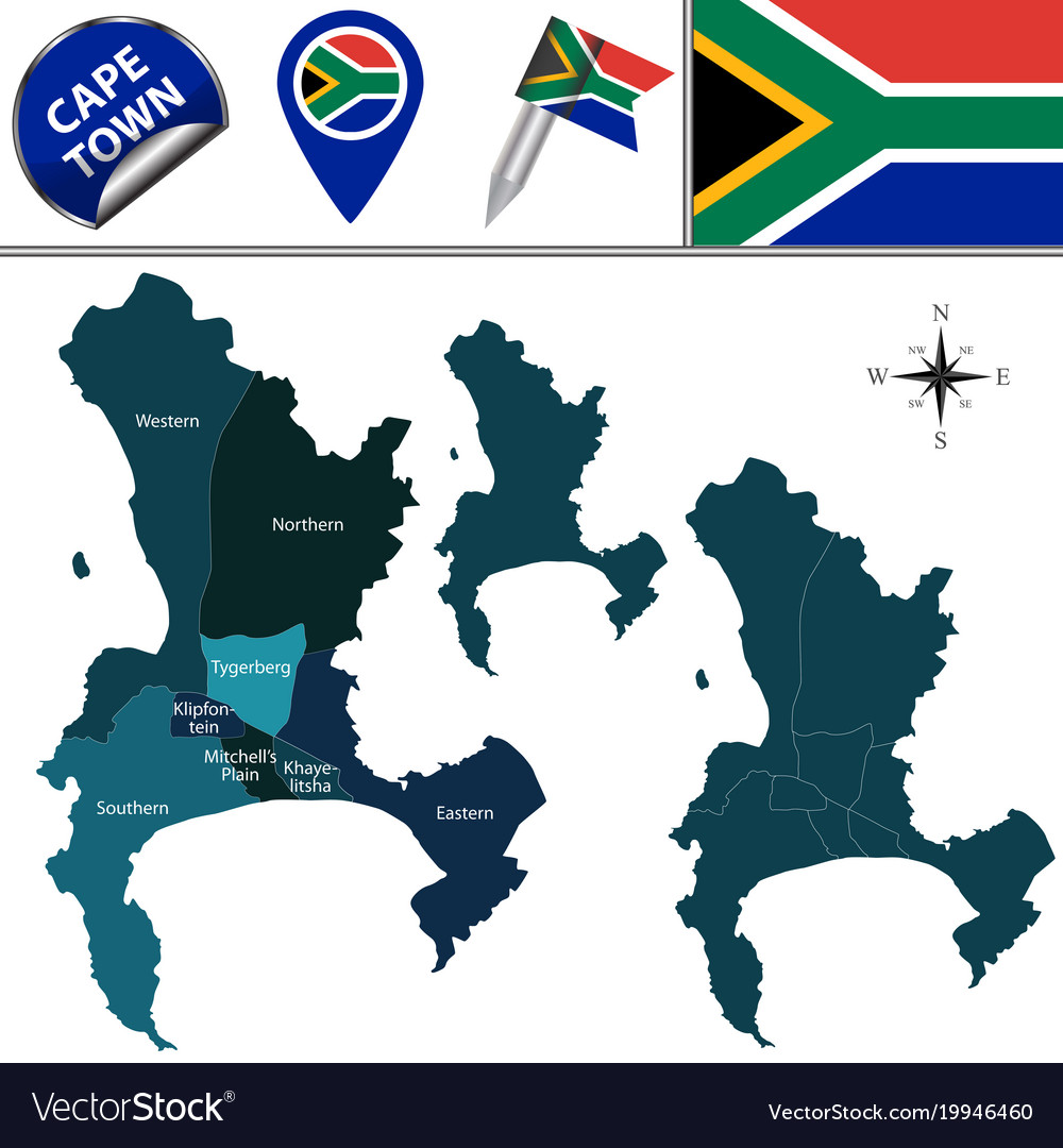 Map of cape town with subdistricts Royalty Free Vector Image Cape Town Map on