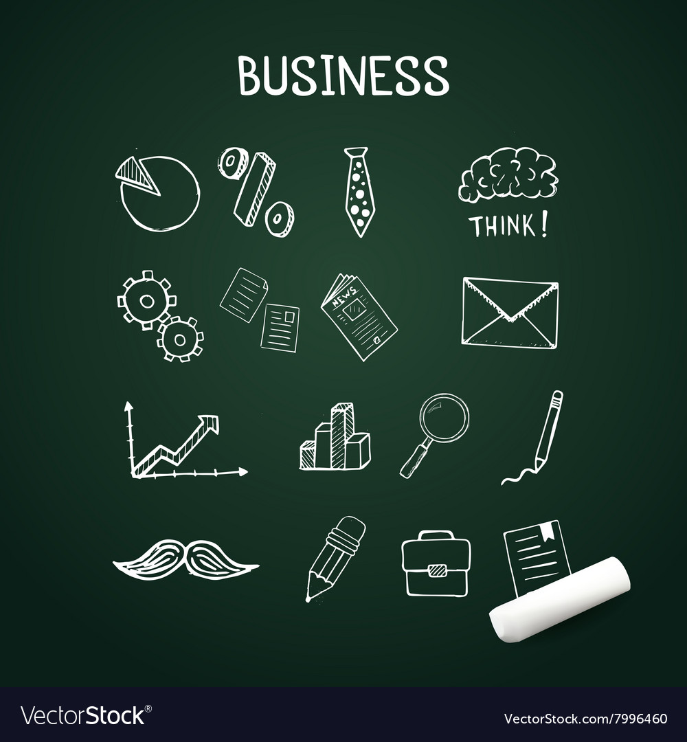 Set of business doodles icons hand drawn with vector image