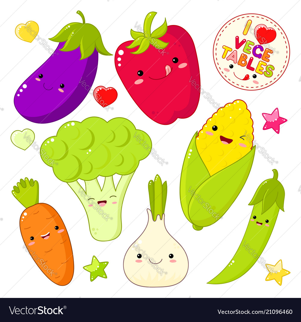 Set of cute vegetable icons in kawaii style