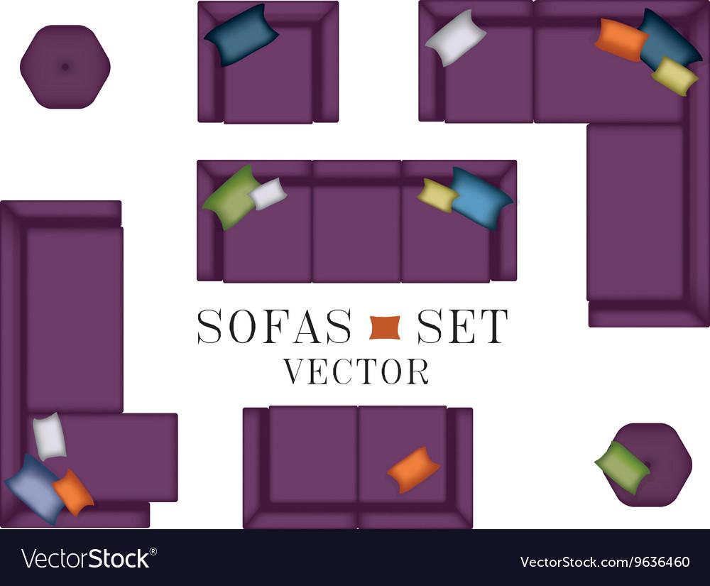 Sofas Armchair Set Top View Furniture Pouf Vector Image