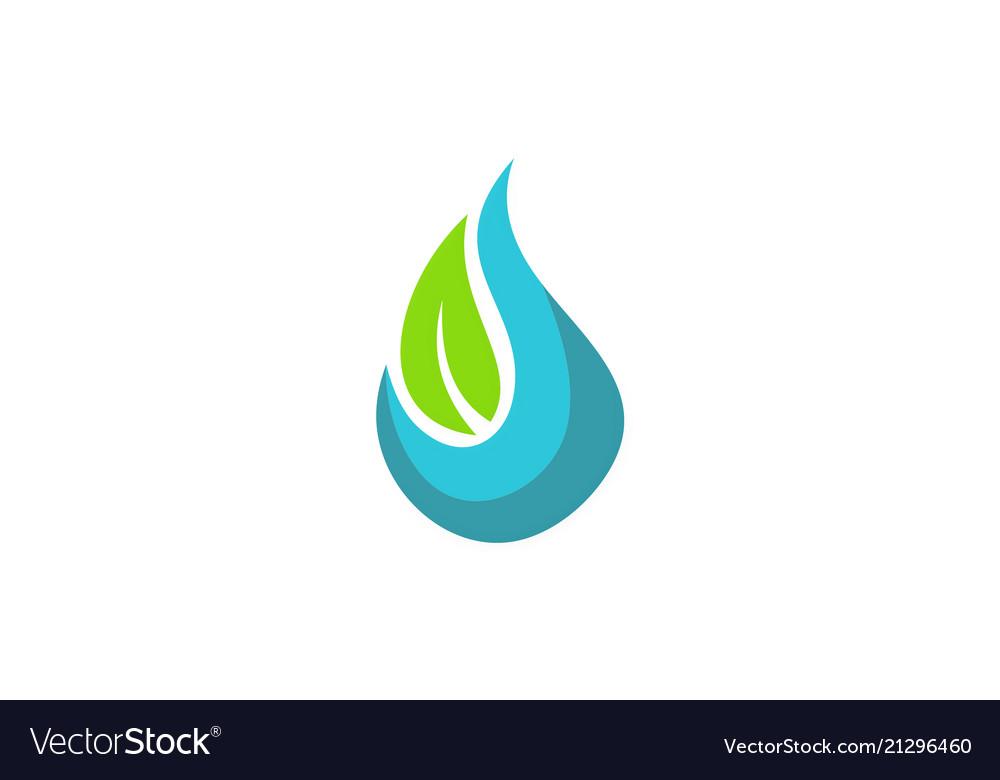 Water ecology green leaf logo
