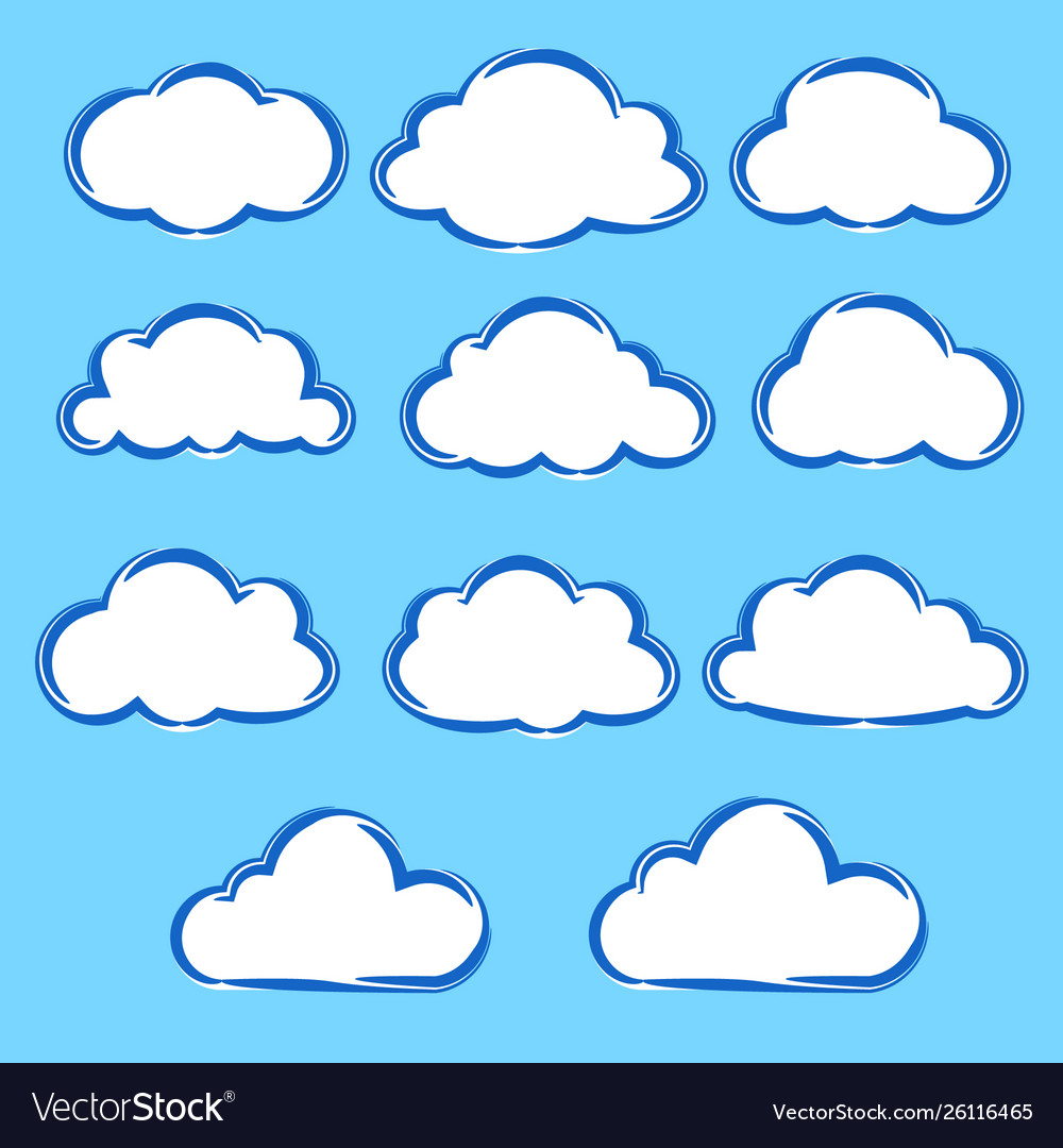 Collection set variation cartoon clouds on blue