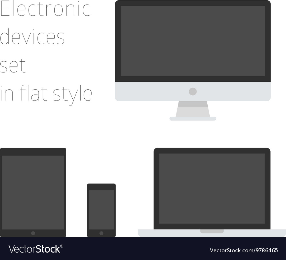 Electronic devices set in flat style