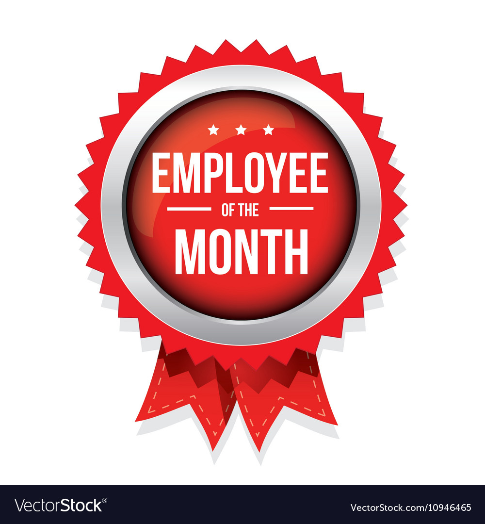employee of the month badge with ribbon royalty free vector