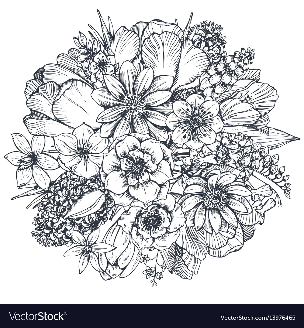 Floral composition bouquet with spring flowers vector image