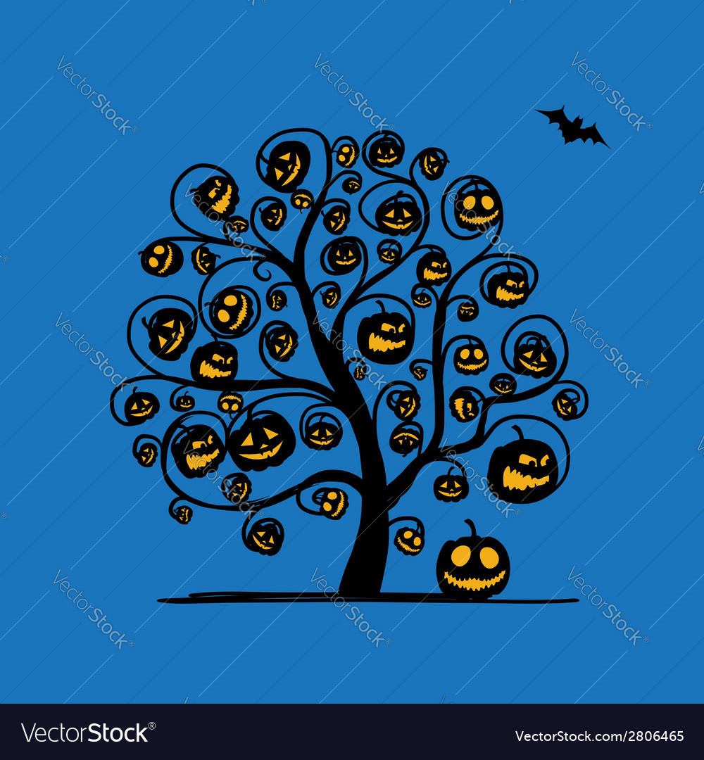 Halloween tree with pumpkins sketch for your