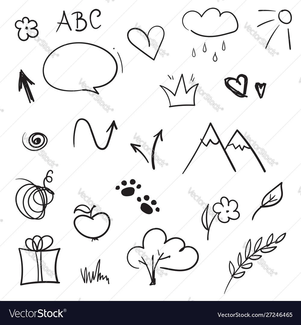 Hand drawn design elements set doodle