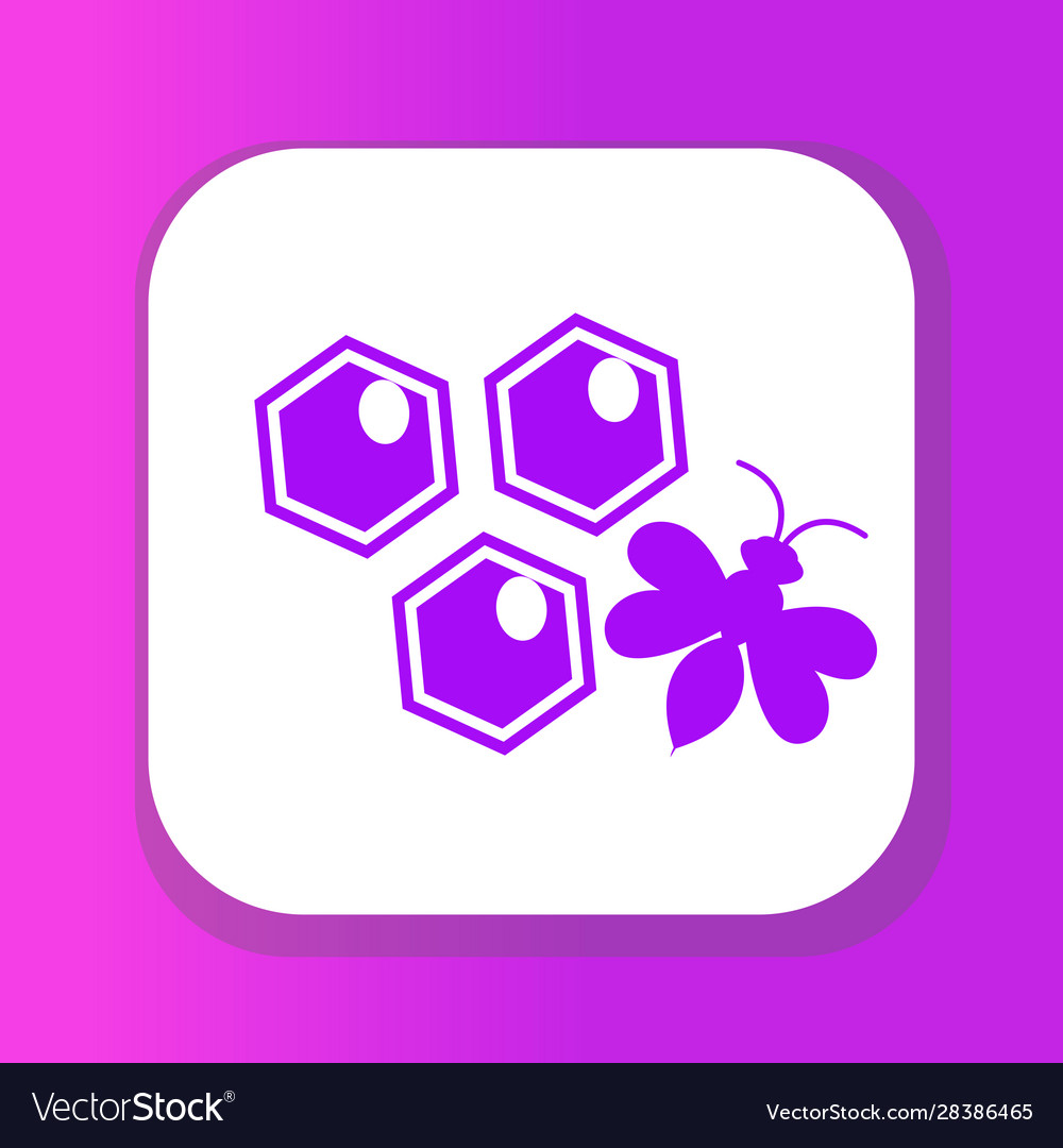 Honeycomb and bee icon flat style isolated on vector