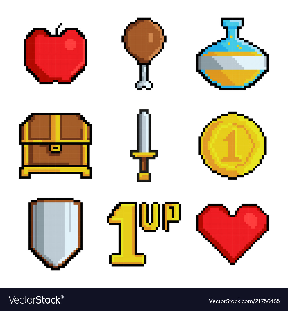 Pixel games icons various stylized symbols for