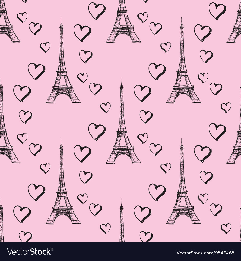 Seamless pattern Eiffel Tower with hearts