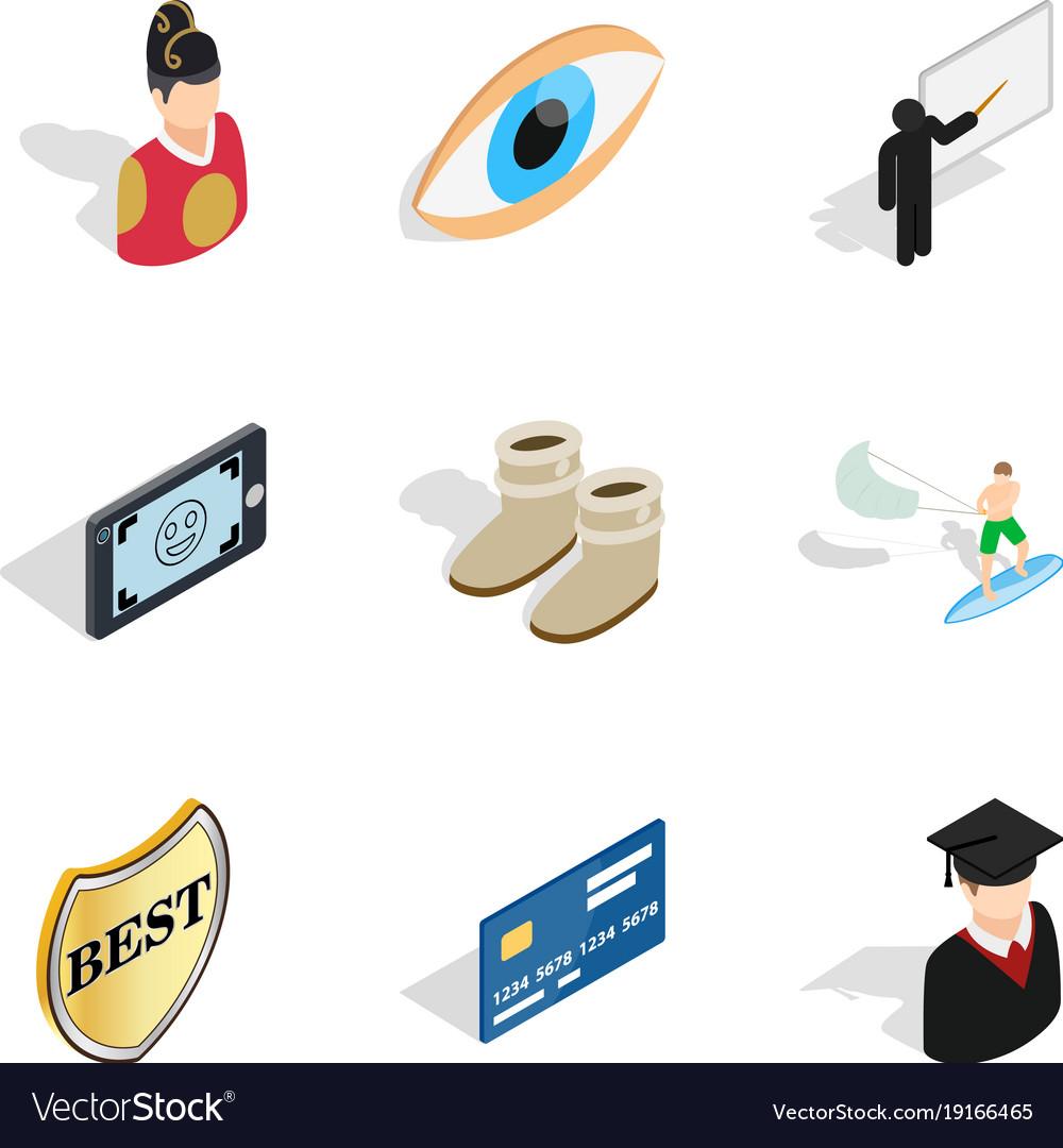self improvement icons set isometric style vector image
