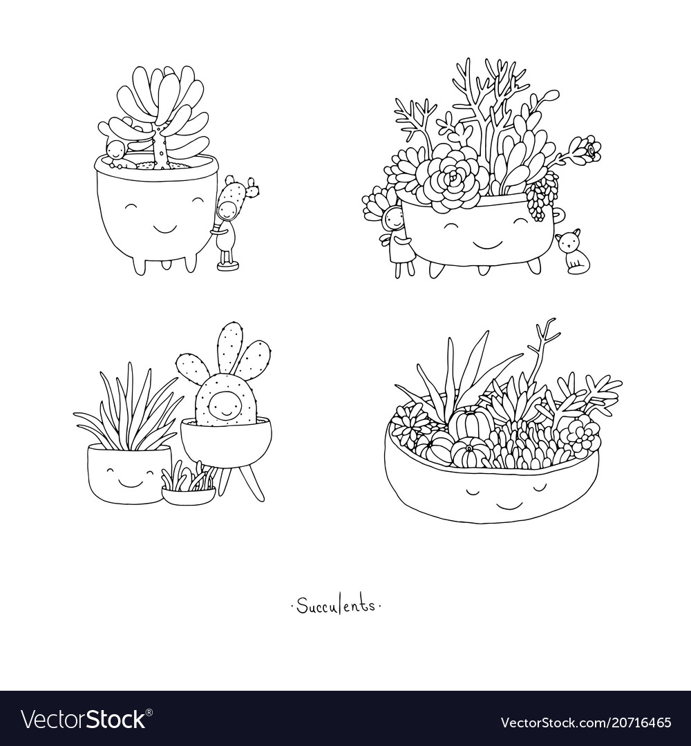 Set with cute cartoon succulents