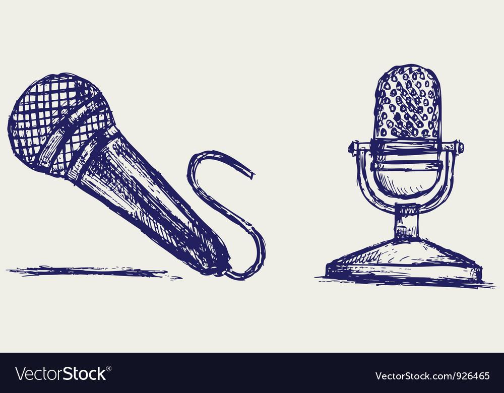 Sketch microphone vector image