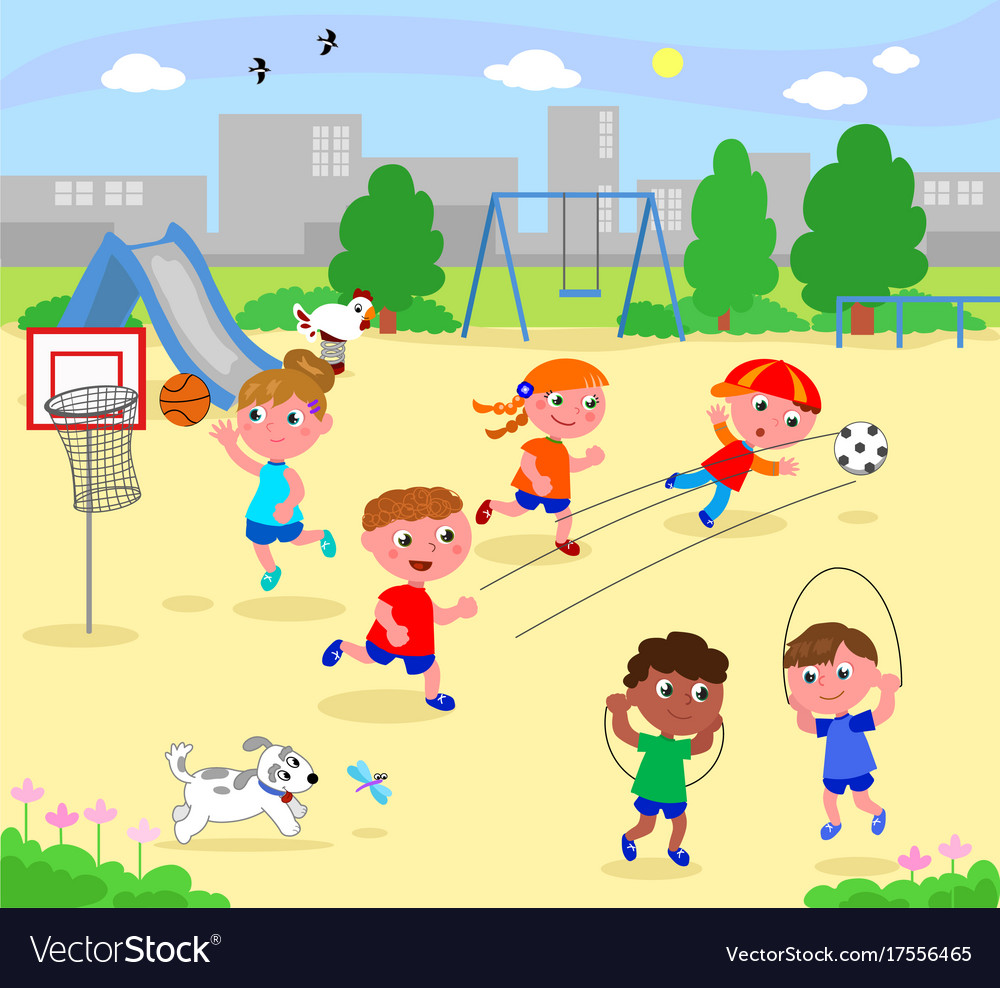 Sportive children at the park