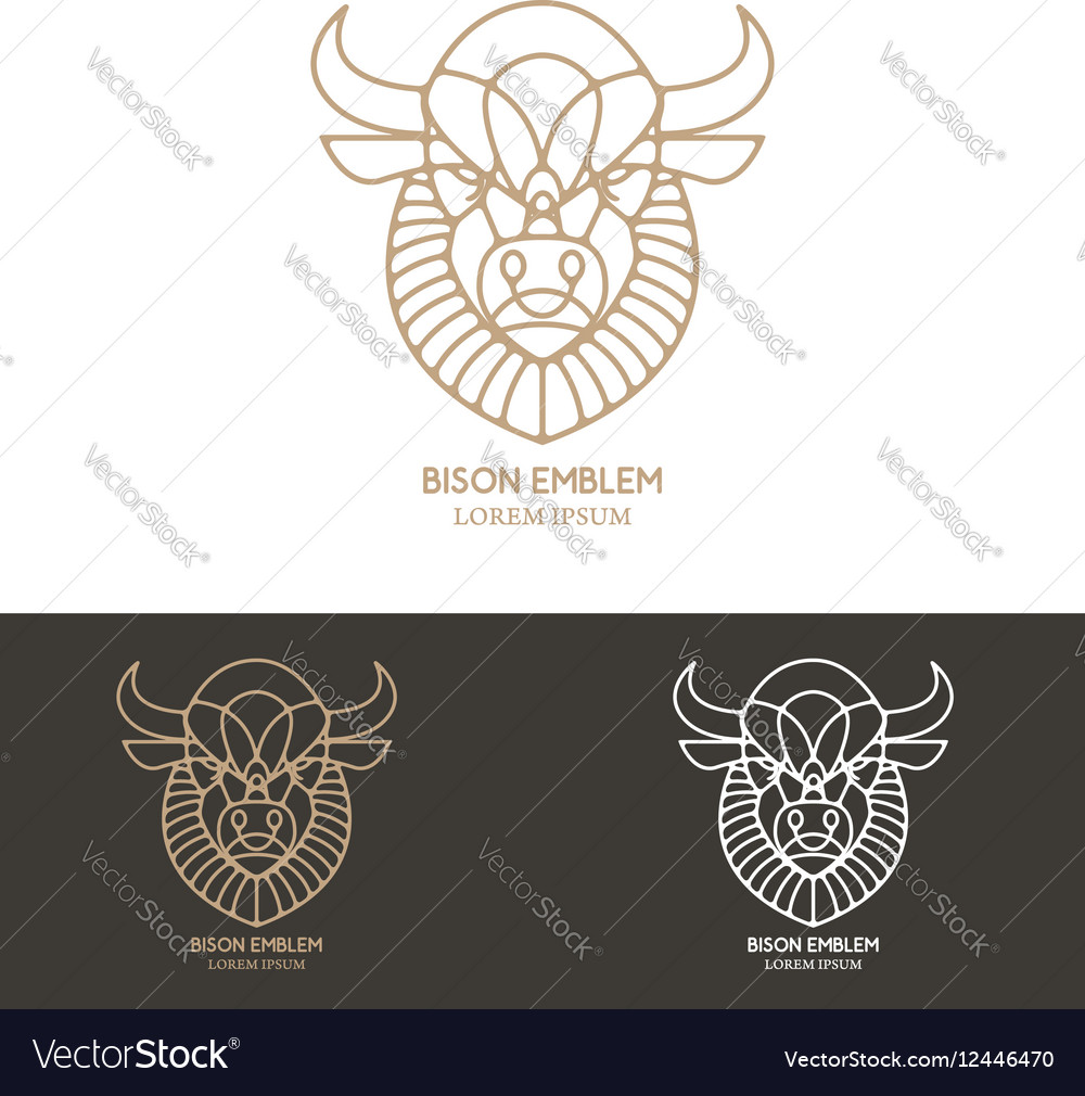 Bison head in line style