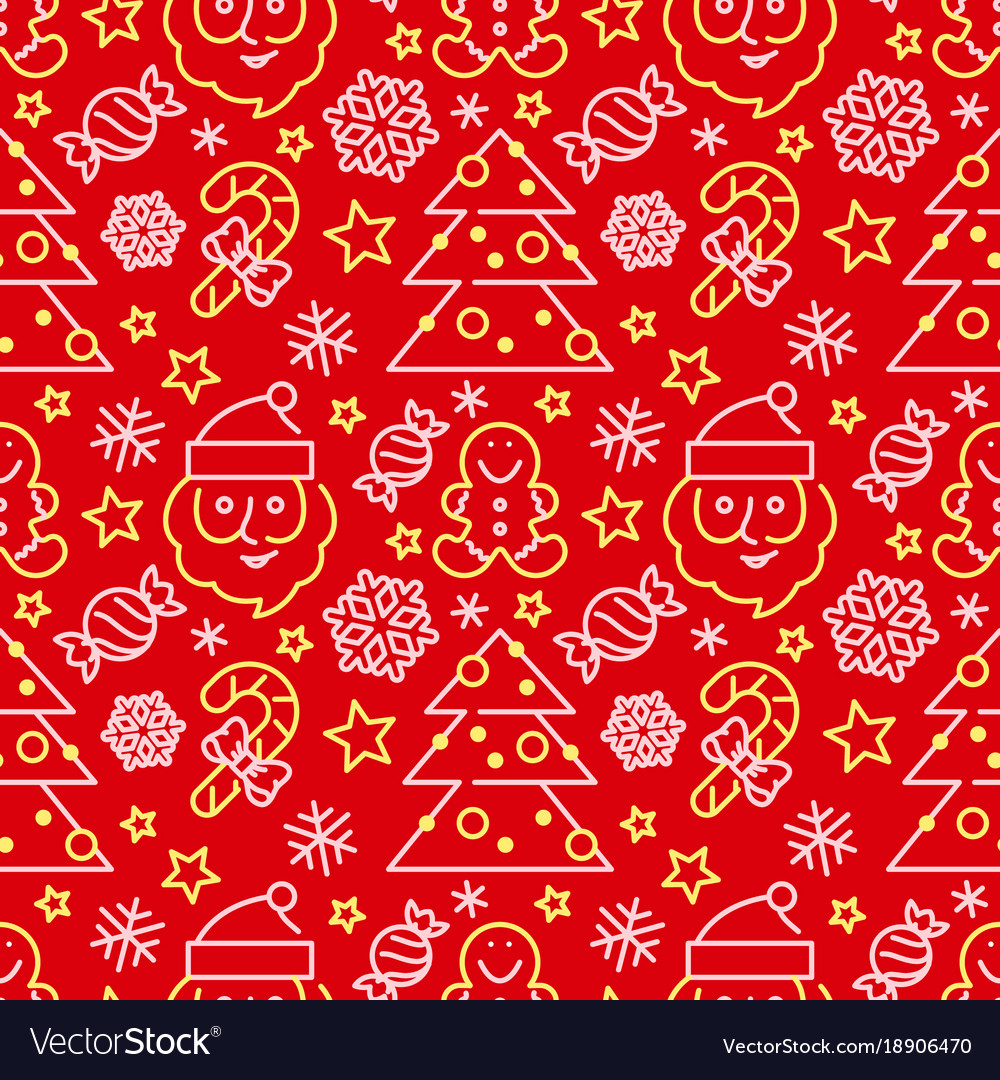 Christmas seamless pattern - santa and candy canes