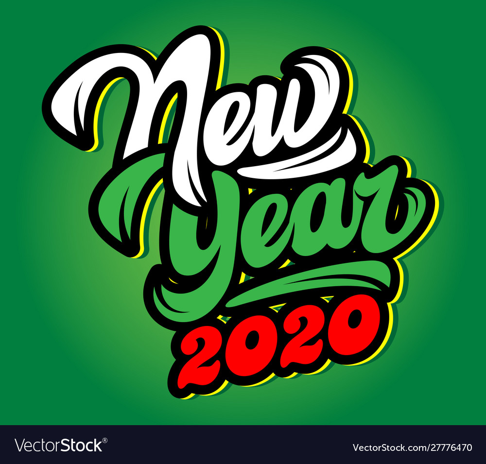 Color template with stylish inscription new year
