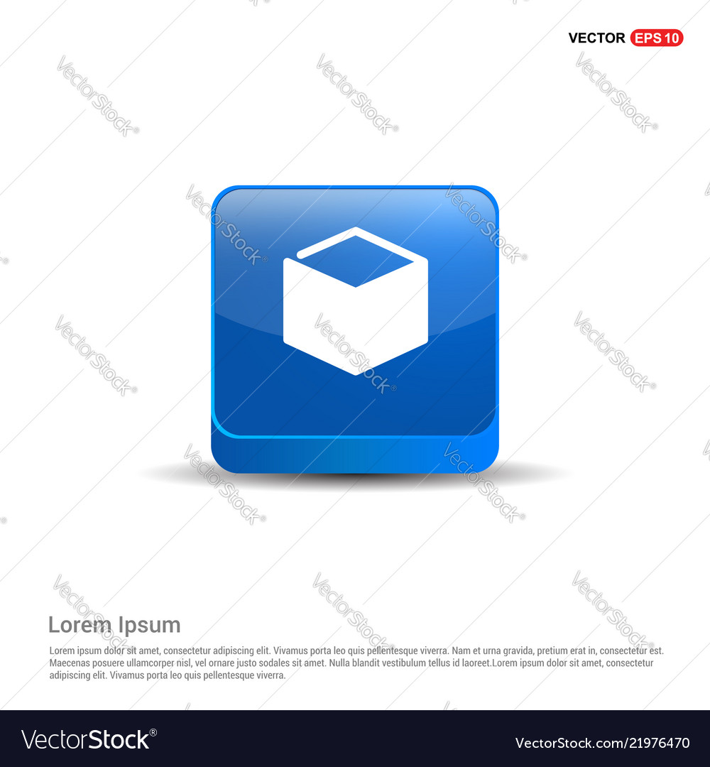 Gift Box Icon 3d Blue Button Royalty Free Vector Image