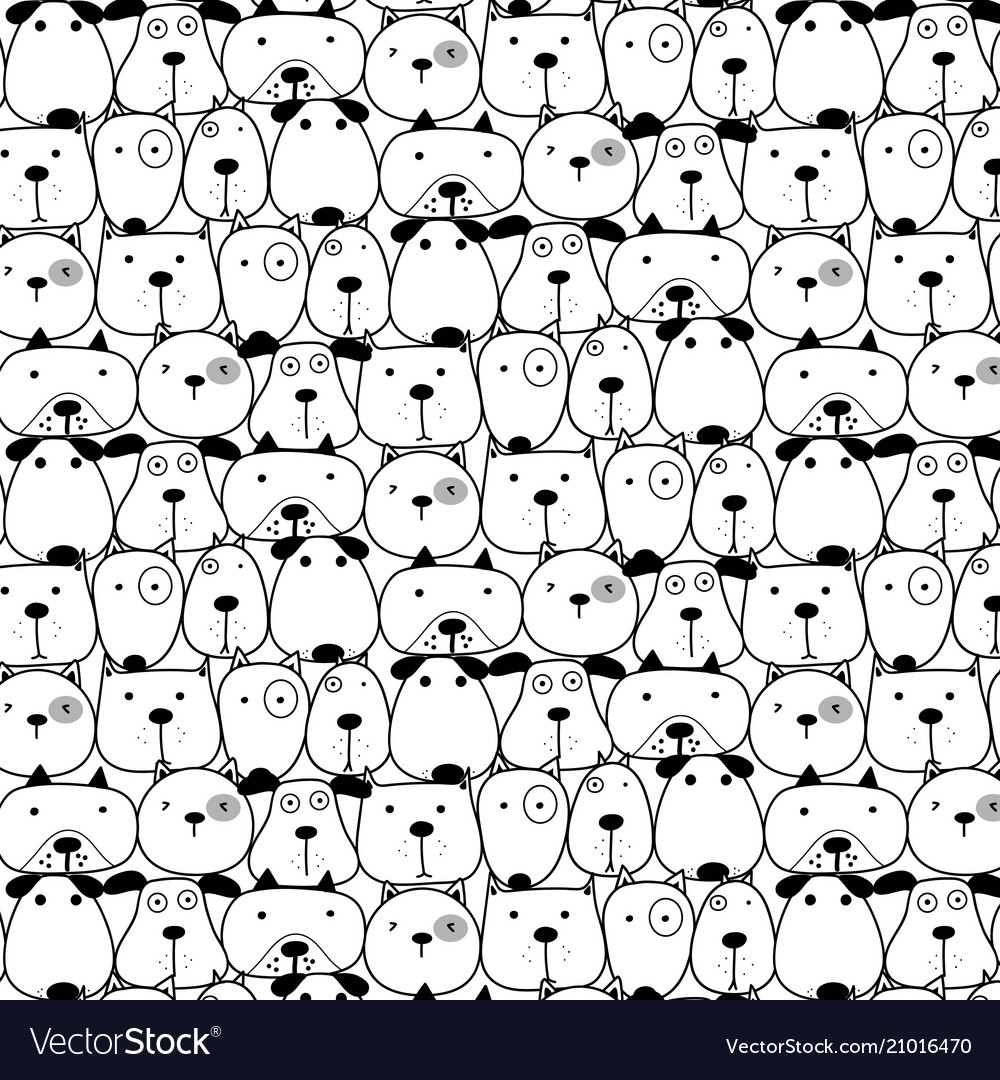 Hand drawn cute dogs pattern background vector image