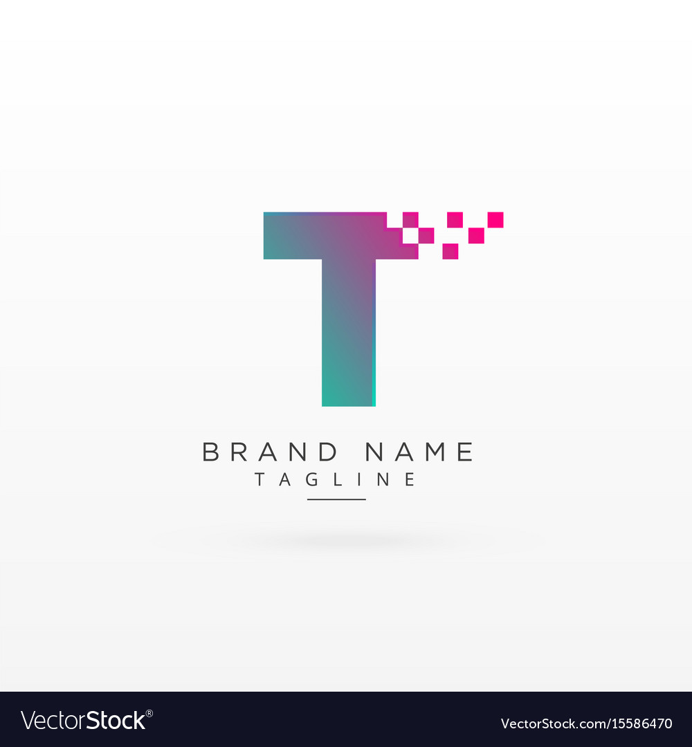 Letter t logo concept design with particles vector image