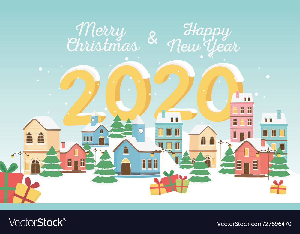 Merry christmas and happy new year 2020 greeting