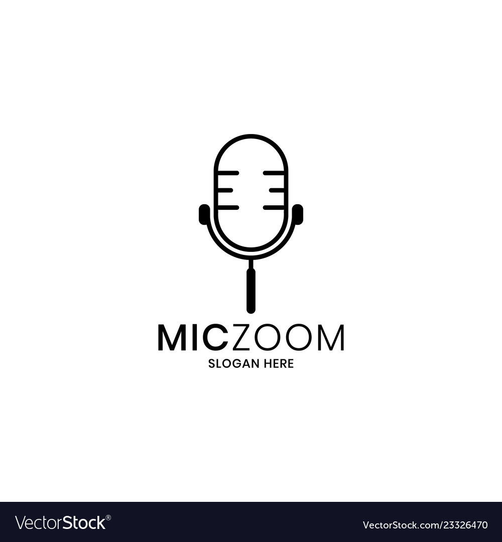 Microphone and magnifying tool concept logo
