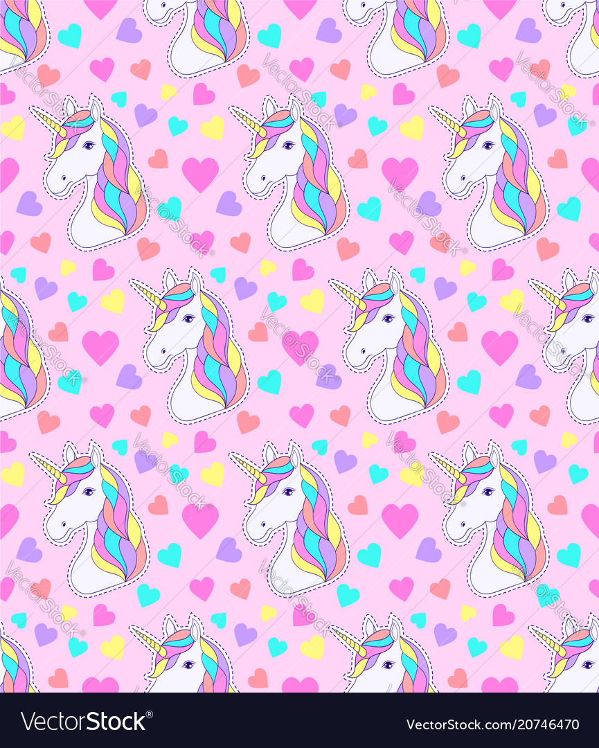 Pattern with colorful unicorn Royalty Free Vector Image