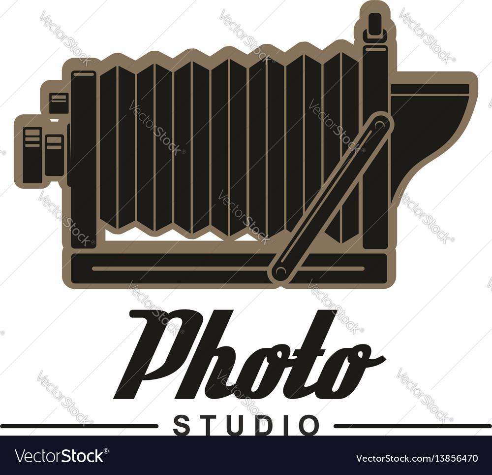 Photo studio symbol of retro folding camera