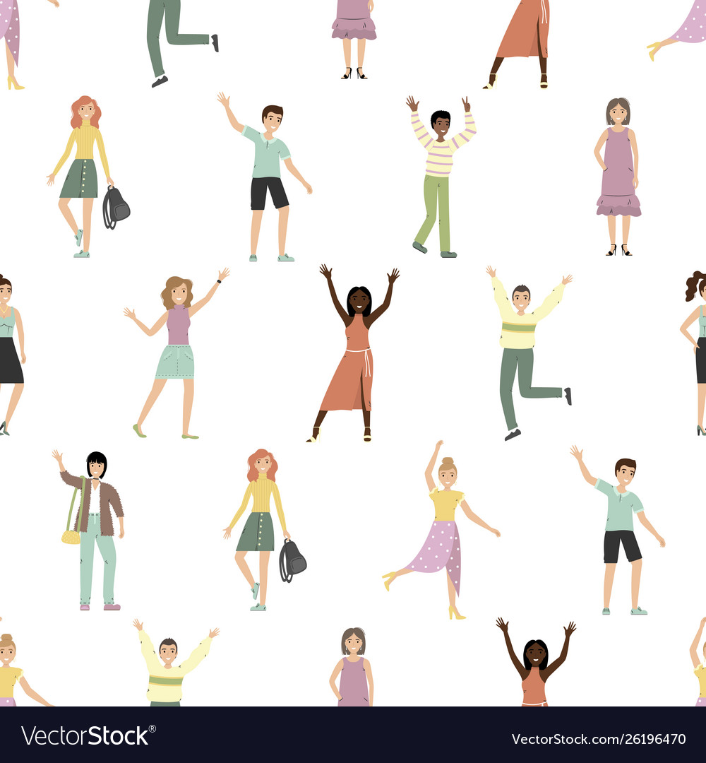 Seamless pattern with happy people flat