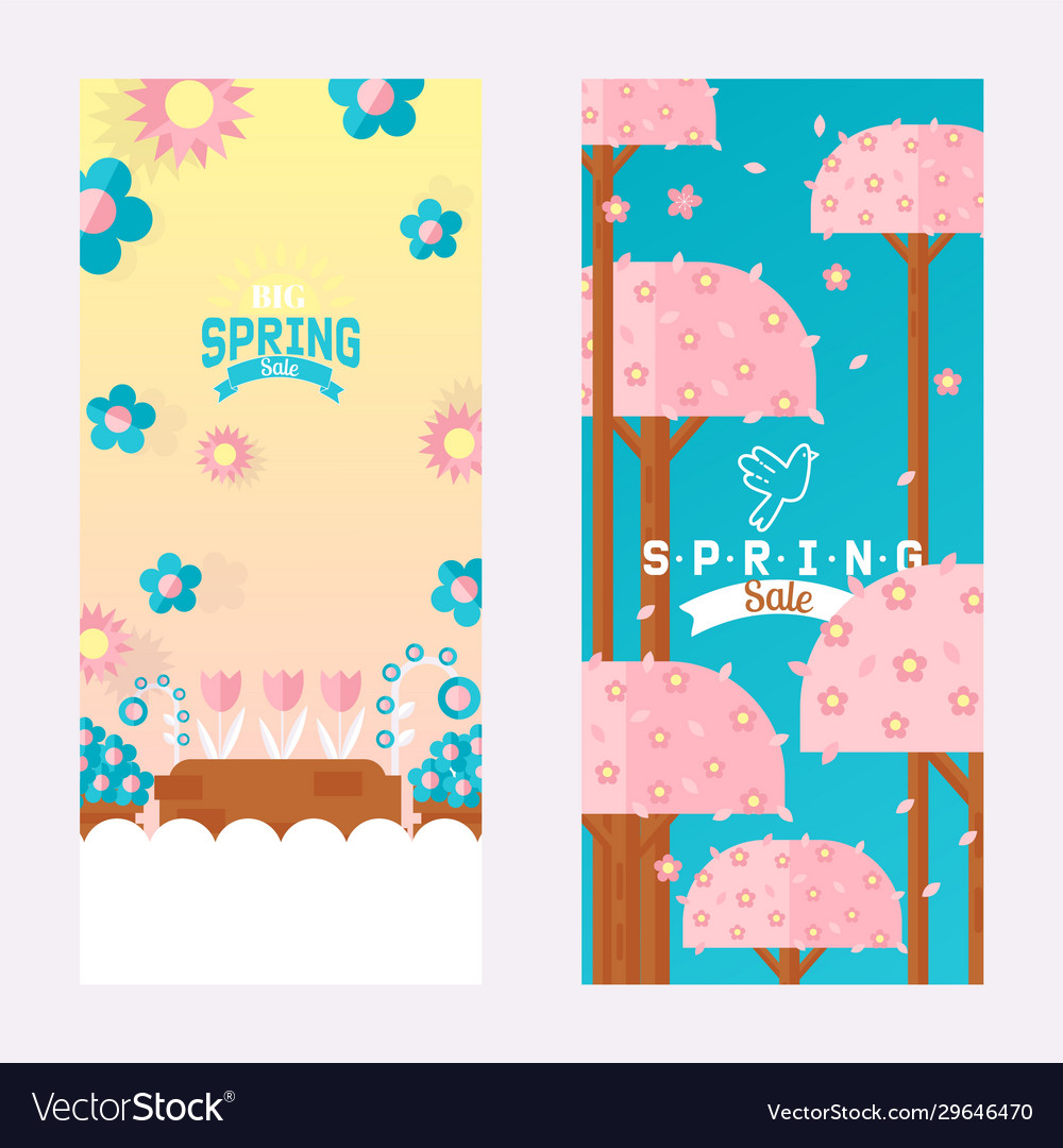 Spring sale vertical banner with flowers and trees