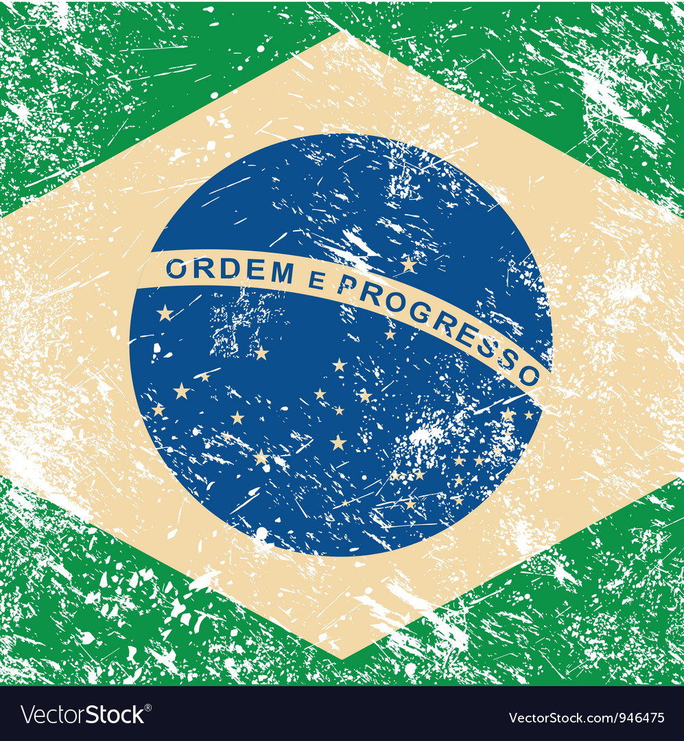 Brazil retro flag vector image