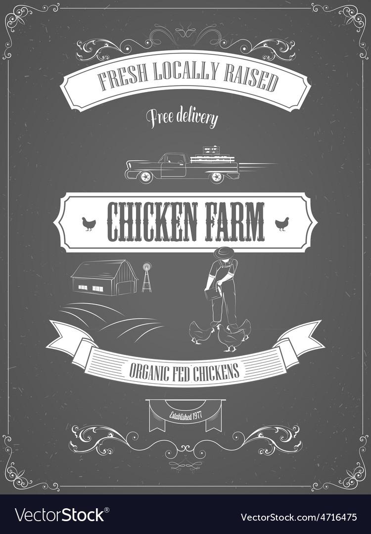 Chicken Farm Vintage Advertisement Poster
