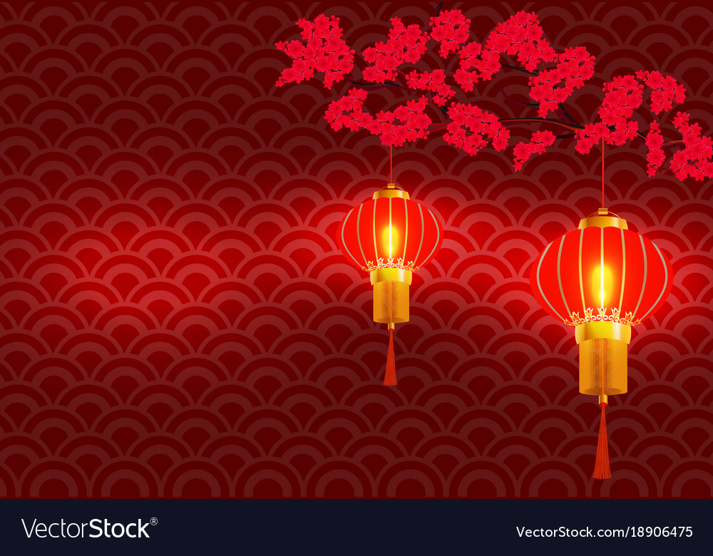 Chinese new year on the branchy blossoming red