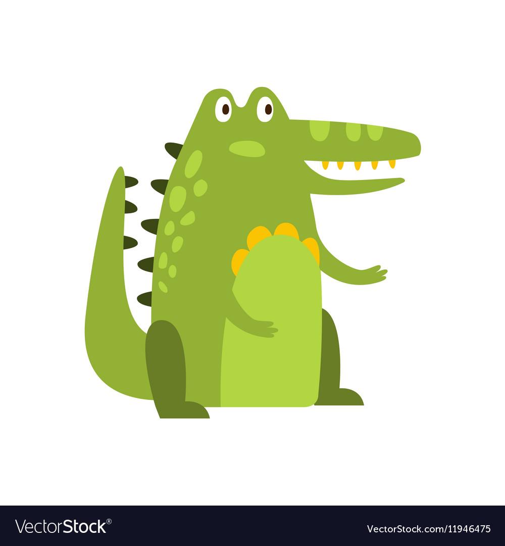 Crocodile Sitting Straight Like Man Flat Cartoon