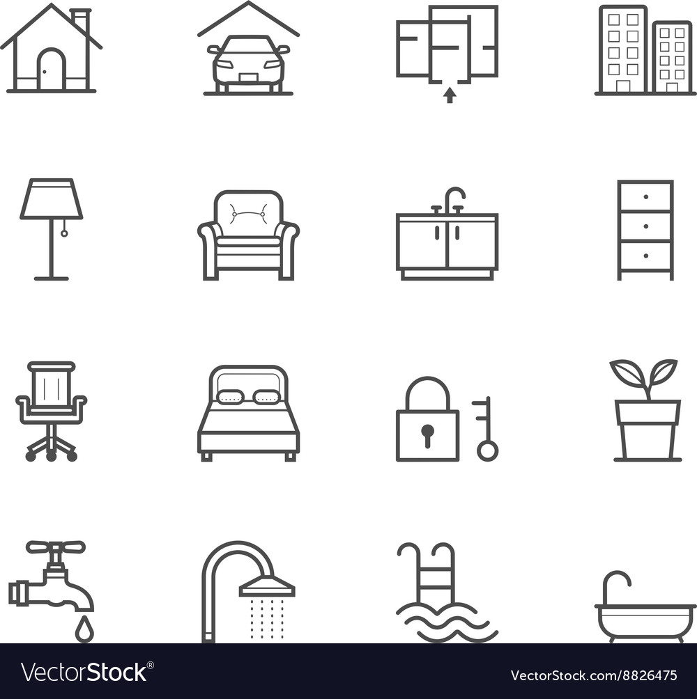 House and Real Estate Icons vector image