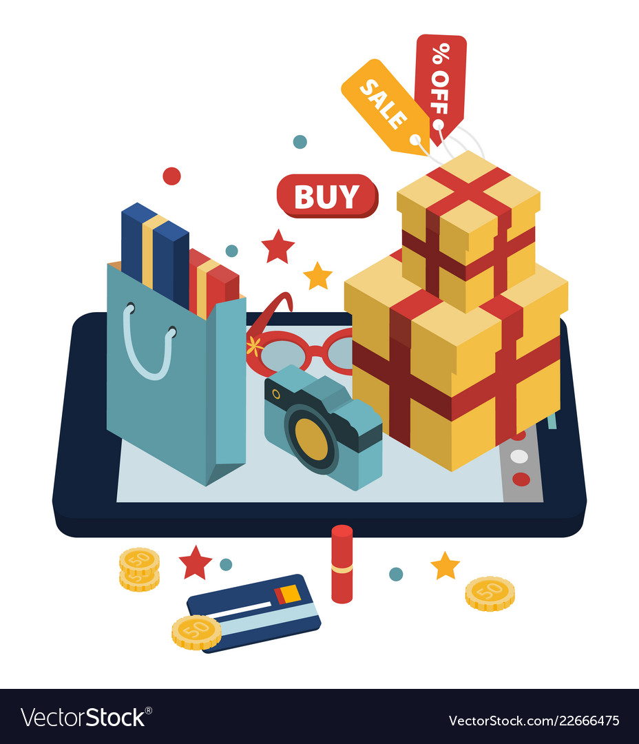 Isometric of online shopping