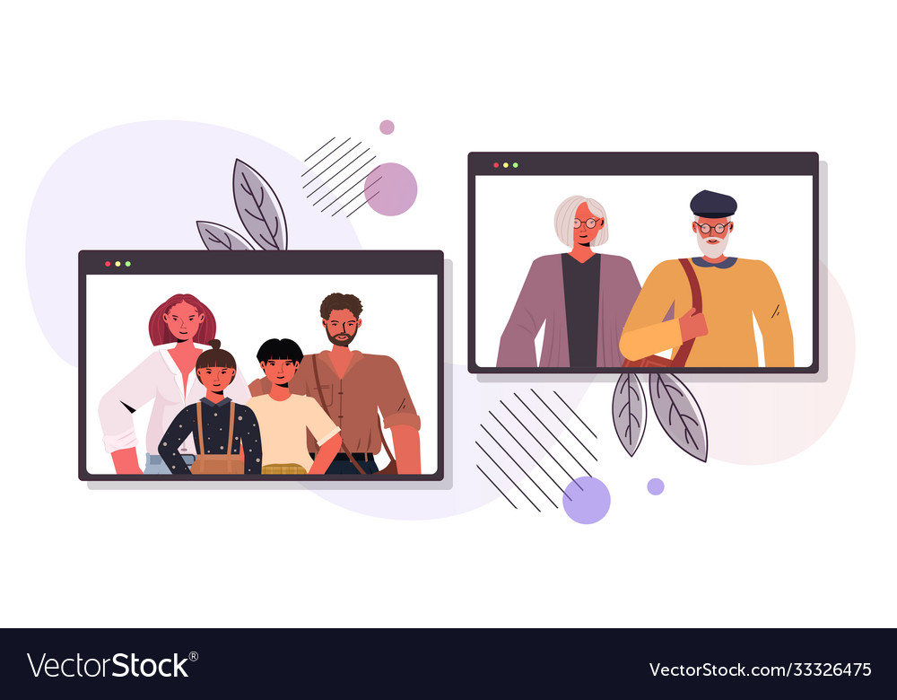 Parents and children having virtual meeting