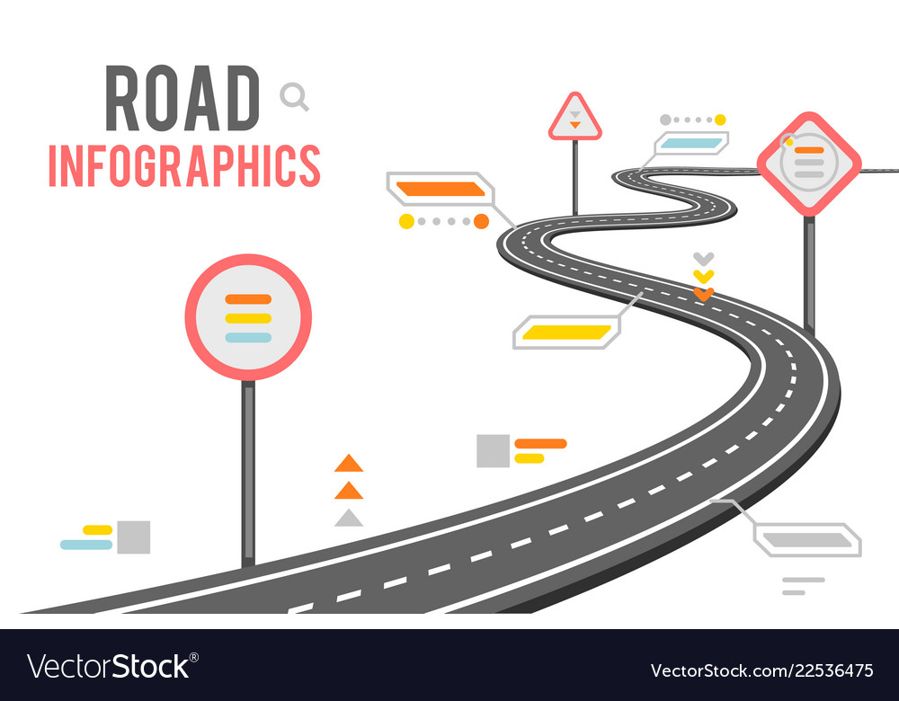 Road way infographics signs design