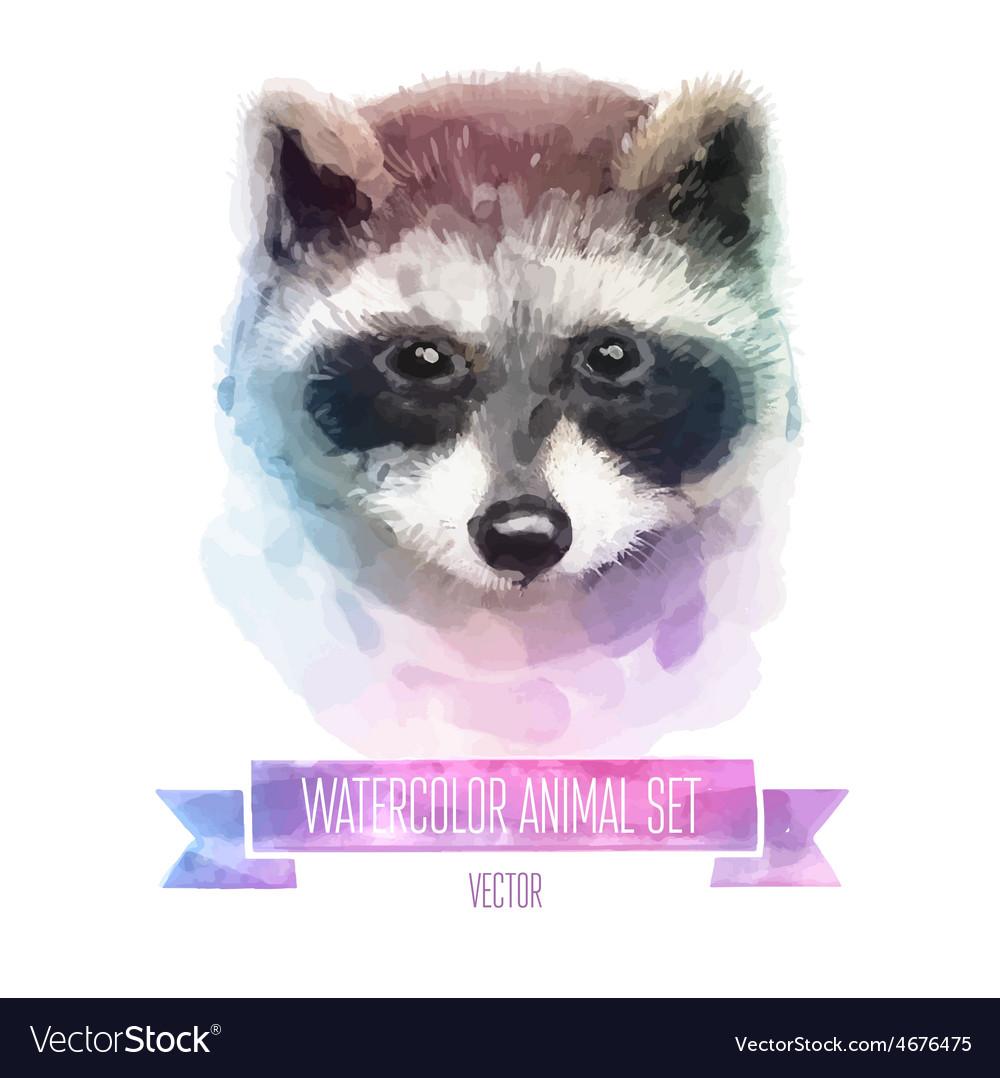 Set of watercolor Cute vector image