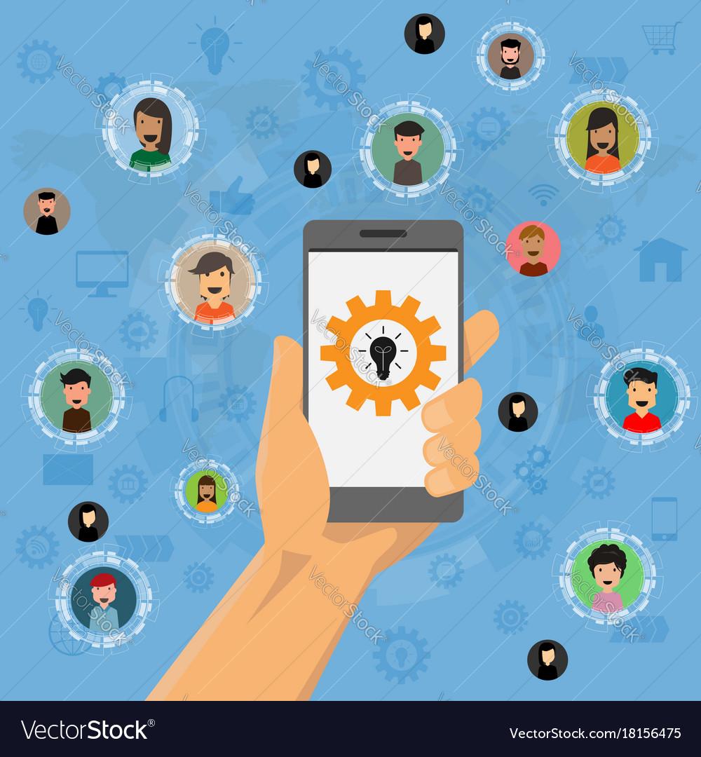 Social media network application flat design for
