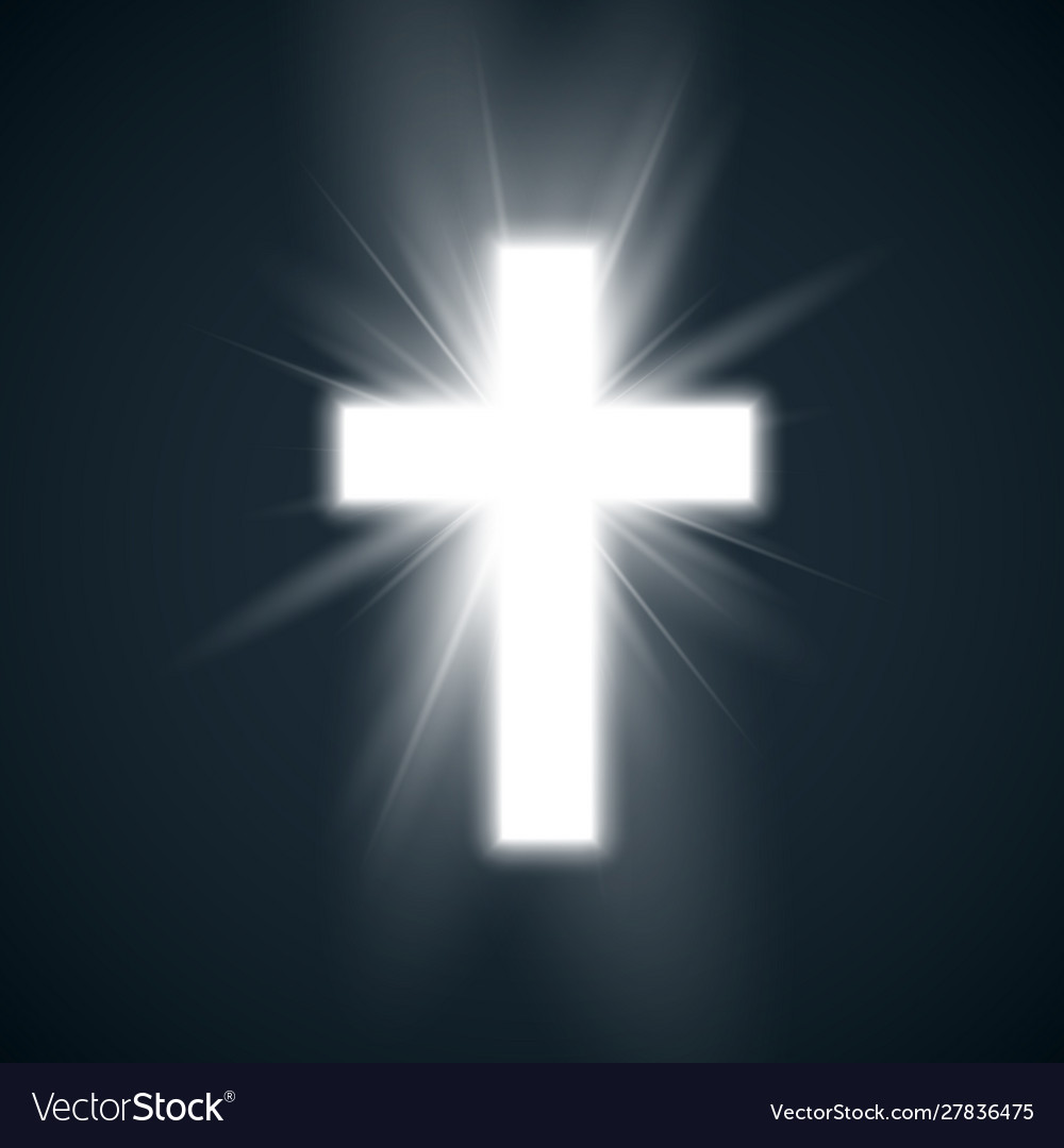 White cross with glow symbol christianity holy vector