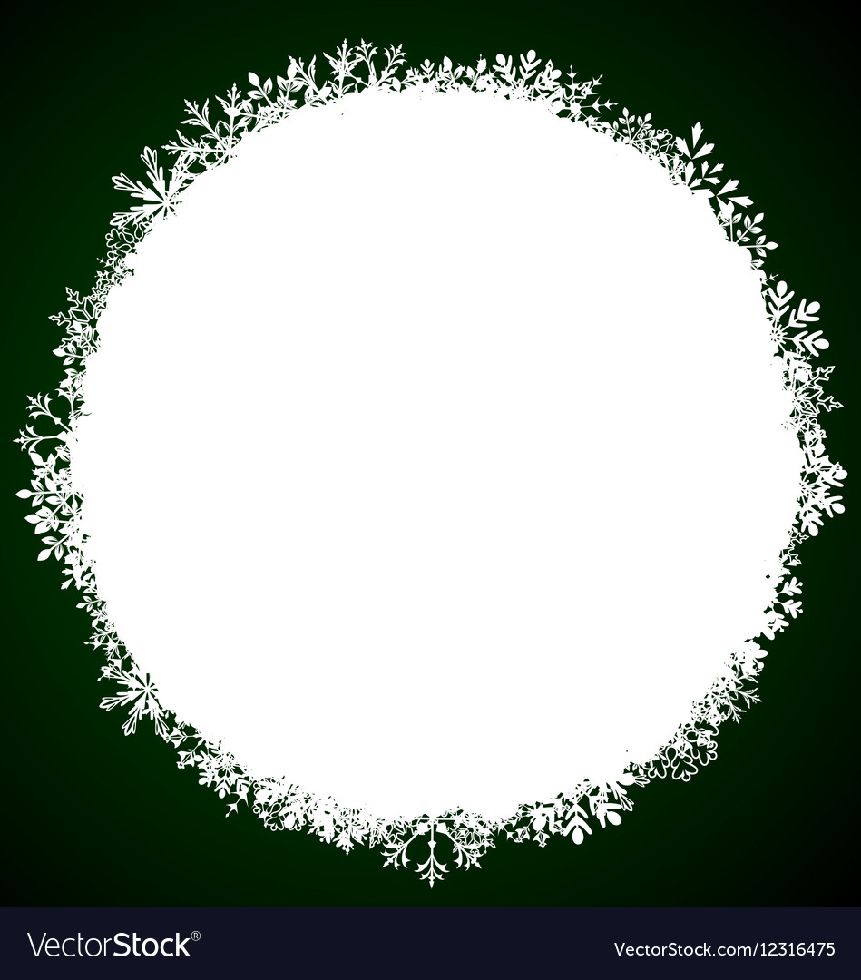 Winter Round Frame with Snowflakes vector image