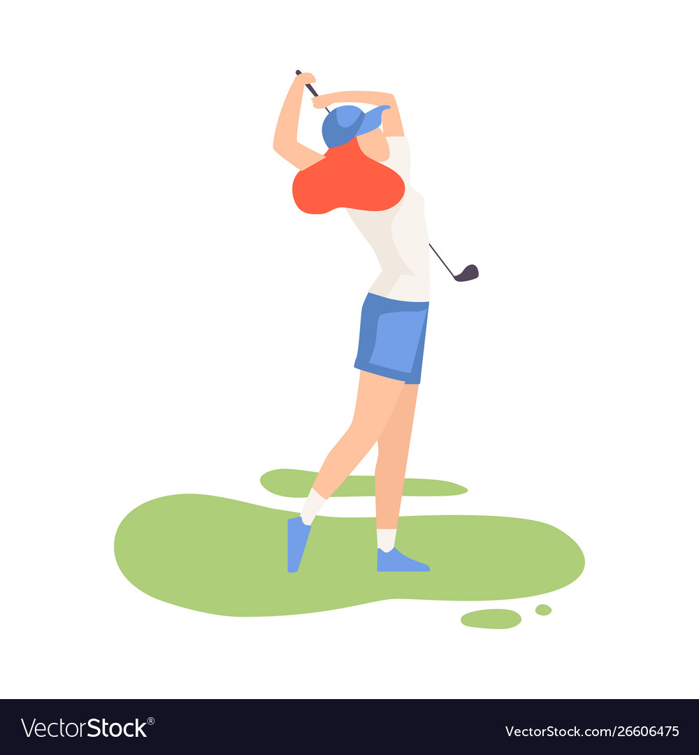 young woman swinging with golf club female vector image  vectorstock